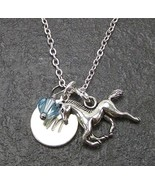 Personalized Horse Necklace Custom Initial with Swarovski Birthstone Cry... - $19.99
