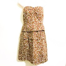 J. Crew Dress Size 2 Strapless Cotton with Tiered Ruffled Skirt Brown Purple - $19.80