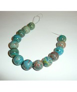 Gorgeous Imperial Turquoise Blue Round Beads 14mm (14 beads) Marble Colored - $14.35