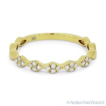 0.14ct Round Cut Diamond Cluster Band 14k Yellow Gold Stackable Annivers... - $449.99