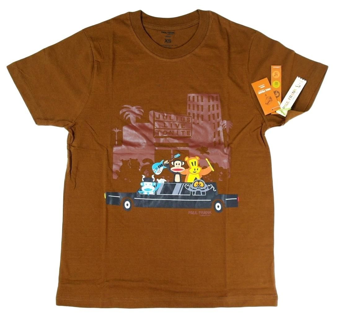 NEW NWT PAUL FRANK MEN'S ATHLETIC CLASSIC COTTON SHIRT T-SHIRT BROWN SIZE XS