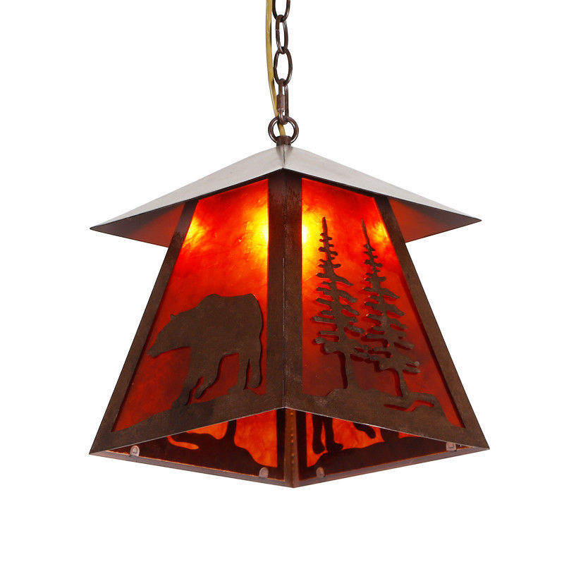 Wild Bear Silhouette Mica Pendant Light Cottage Cabin Lodge Country Lighting