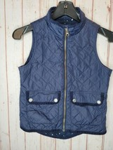 Girls Gap Kids Vest Quilted Star Lined Navy Blue Zip Pockets Size M 8/9 - $14.84