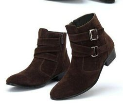 Suede Leather Brown Pointed Toe Superior Men High Ankle Buckle Straps Monk Boots image 2