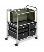 Black Mobile File Cart Office Organization Rolling Paper Storage Steel F... - $67.22