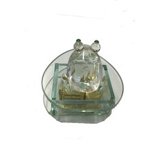 GLASS MUSICAL DECORATIVE ORNAMENT WITH A FROG ON TOP - $34.40