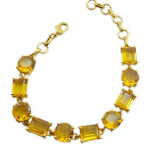 Yellow Gold Plated Glass gorgeous Citrine CZ common Bracelet AU gift - $22.73