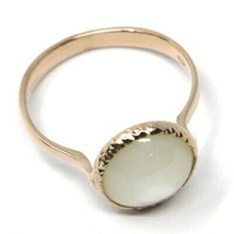 SOLID 18K ROSE GOLD RING, CABOCHON CENTRAL MOTHER OF PEARL, DIAMETER 10mm image 2