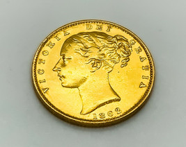 High Grade Queen Victoria Young Head - Shield Back 22k Gold Full Soverei... - $699.99