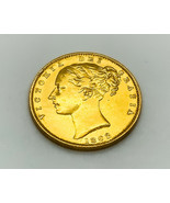 High Grade Queen Victoria Young Head - Shield Back 22k Gold Full Soverei... - $699.99