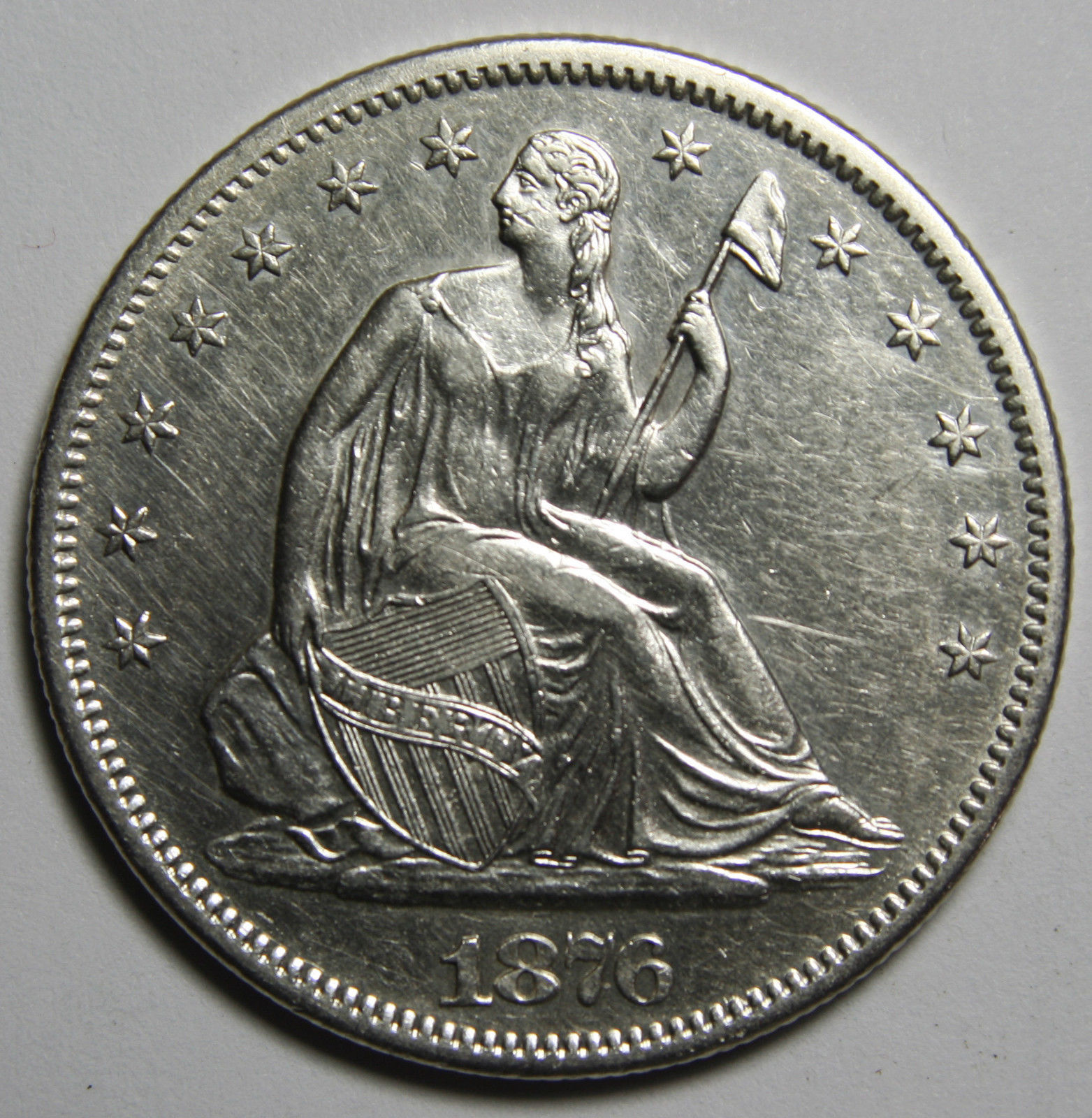 1876 Seated Silver Liberty Half Dollar 50¢ Coin Lot# MZ 3918