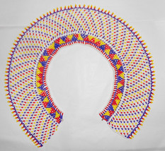 Vintage African beaded glass bib collar necklace Cleopatra Style Stunning beadwo - $159.00