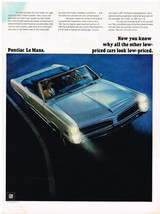 Vintage 1966 Magazine Ad Pontiac LeMans Why Other Low Priced Cars Look L... - $5.93