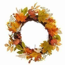 "Perfect Harvest Wreath 18"" Maple Leaf and Pumpkins - $15.00"