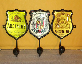 Absinthe Label Hook Key Holder / Metal and Glass / Home Office Bar Decor... - $38.79