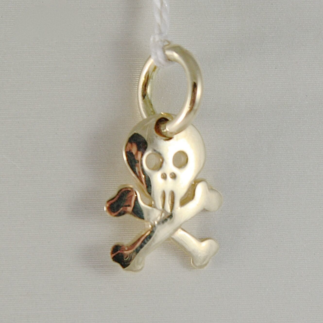SOLID 18K YELLOW GOLD SKULL & BONES FLAT PENDANT SMOOTH LUMINOUS MADE IN ITALY