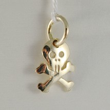SOLID 18K YELLOW GOLD SKULL & BONES FLAT PENDANT SMOOTH LUMINOUS MADE IN ITALY image 1