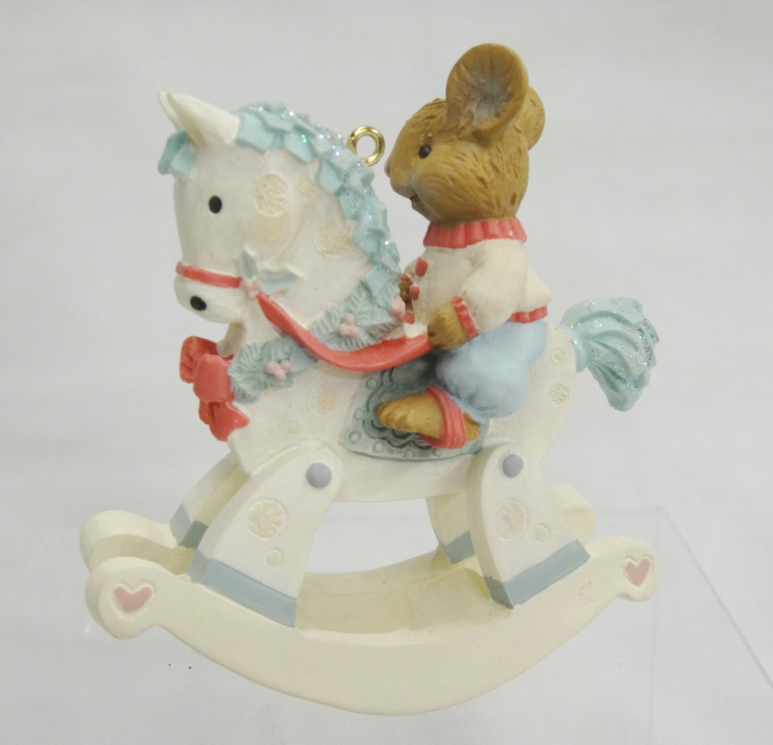 My Third 3rd Christmas 1996 Ornament Mouse on Rocking Horse American Greetings