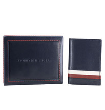 Tommy Hilfiger Men's Leather Wallet RFID Protection Trifold Red Navy 31HP110034