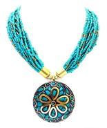 Green Necklace Pendant String Bead Jewelry Ethnic Boho Chic Fusion Weddi... - $9.89