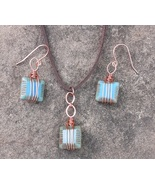 Handmade antique copper wire wrapped necklace and earring set - $20.00