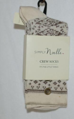 Simply Noelle Cream And Chocolate Crew Sock One Size Fits Most