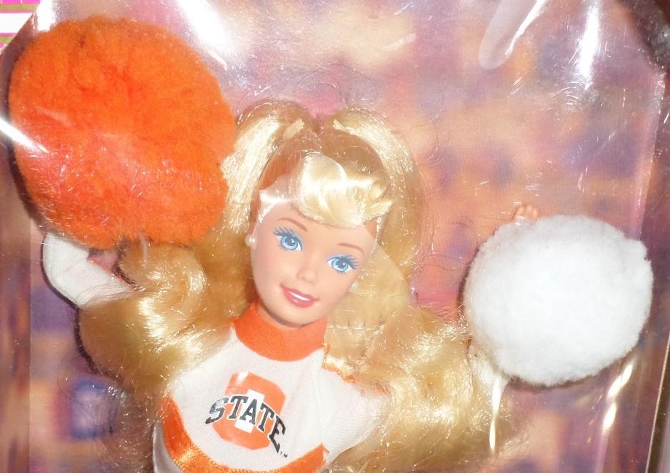Mattel Barbie Doll Oklahoma State University Cheerleader 1997 orange white H35