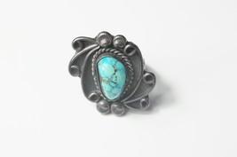 Vintage Large Sterling Silver Bezel Set Turquoise Native American Design... - $62.00