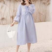 Maternity's Dress Fashion Long Sleeve Embroidery Pattern Loose Dress image 2
