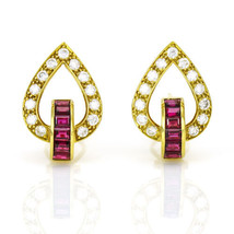 1.82 Carat 18k Yellow Gold Diamond Ruby Earrings - $5,950.00