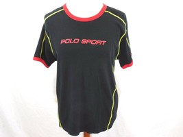 POLO SPORT RALPH LAUREN Mens LARGE/L Black,Red & Yellow T-Shirt EMBOSSED... - $26.06