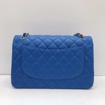 NEW Authentic Chanel BLUE QUILTED LAMBSKIN JUMBO CLASSIC DOUBLE FLAP BAG SHW image 4