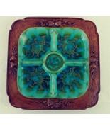 Vintage Treasure Craft Divided Square Serving Dish Relish Platter Blue G... - $30.00