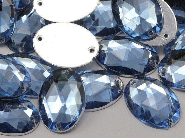 18x13mm Blue Sapphire Lt. CH02 Oval Flat Back Sew On Gems For Craft 50 PCS