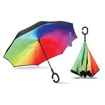 Inverted Rainbow Umbrella, Umbrella Windproof, Reverse Umbrella, Umbrell... - $22.32