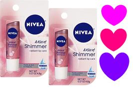 2 ~ NIVEA A KISS OF SHIMMER Radiant Lip Care Balm Moisture Chap Stick Pa... - $10.33