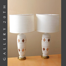 STUNNING PAIR OF MID CENTURY MODERN ATOMIC TABLE LAMPS! EAMES VTG 50S CR... - £1,616.76 GBP