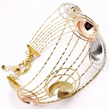 18K YELLOW, WHITE, ROSE GOLD BANGLE BRACELET WORKED MULTI WIRES, FLOWERS DISCS image 2