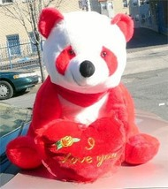American Made Giant Stuffed Red Panda Bear 32 Inch Soft with I Love You ... - $147.11