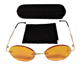 Stylish Hipster Yellow Lens Gold Frame Sunglasses