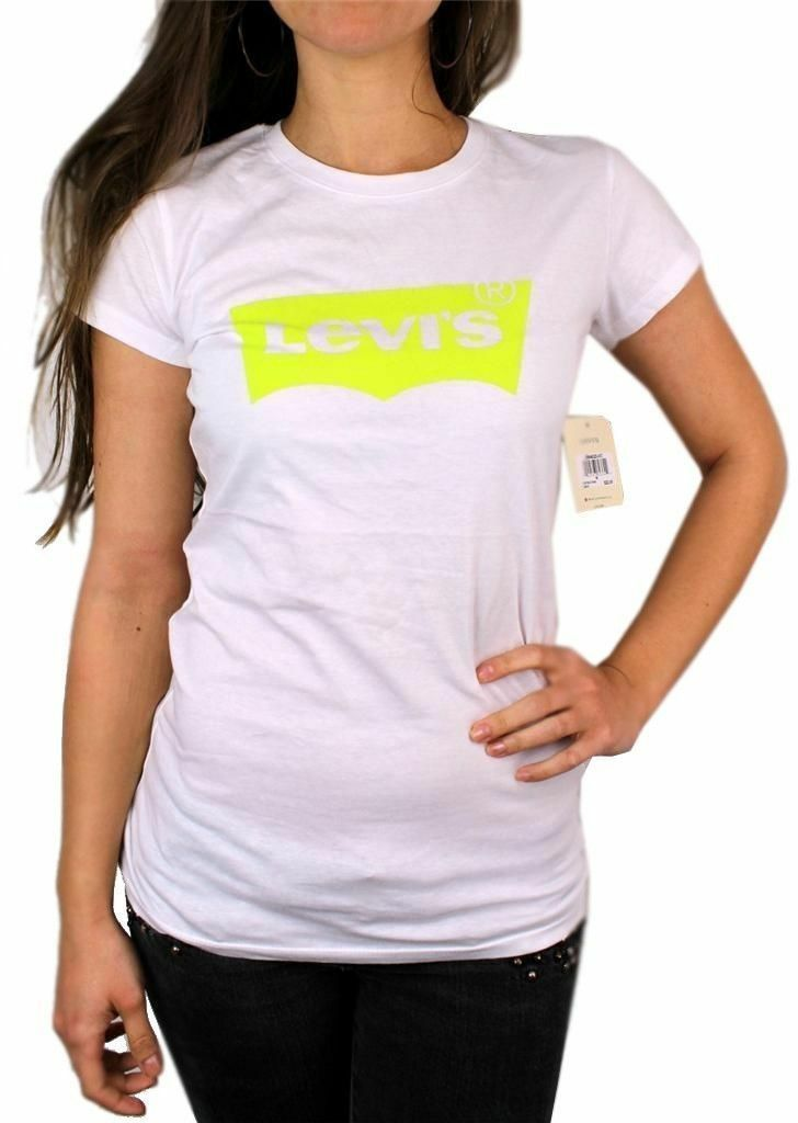 NEW NWT LEVI'S WOMEN'S PREMIUM CLASSIC GRAPHIC COTTON T-SHIRT SHIRT TEE WHITE