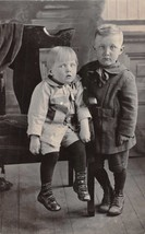 YOUNG BOYS~BROTHERS~IN PERIOD DRESS~REAL PHOTO POSTCARD 1920s - $8.50