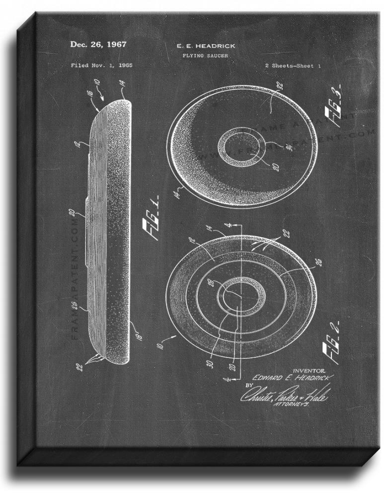 Primary image for Flying Saucer Patent Print Chalkboard on Canvas