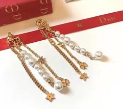 AUTH Christian Dior 2019 LE PRINTEMPS DE DIOR Multi Chain Long Dangle Earrings image 7