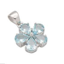 925 Sterling Silver Locket Aquamarine Gemstone Nice Floral Pendant Jewel... - $39.89