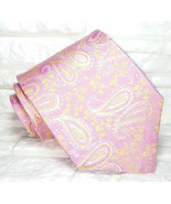 Paisley silk necktie pink JACQUARD 100% SILK Made in Italy weddings / bu... - $27.46