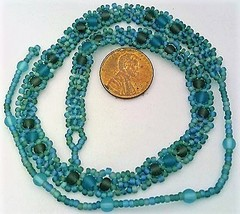 Rainbow Teal Blue Beaded Daisy Chain Necklace - $16.99