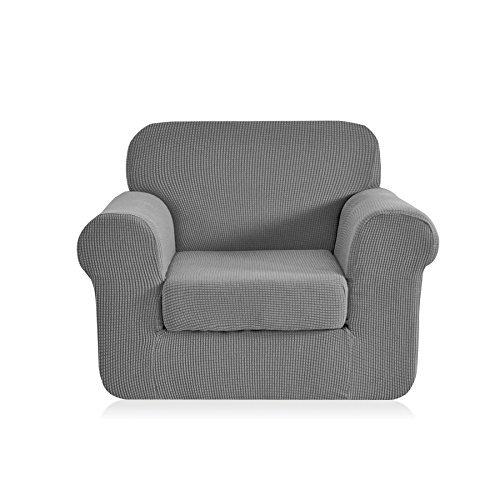 Light Grey Sofa Slipcover: CHUN YI 2-Piece Jacquard Polyester Spandex Sofa Slipcover