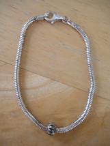 "Sterling Silver European Charm Bracelet Including 1 Charm ~ 7 1/2"" ~7.7g - $12.59"