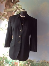 Jones New York Black Wool Long Sleeve Long Suit Blazer Coat Size 12 - $37.62